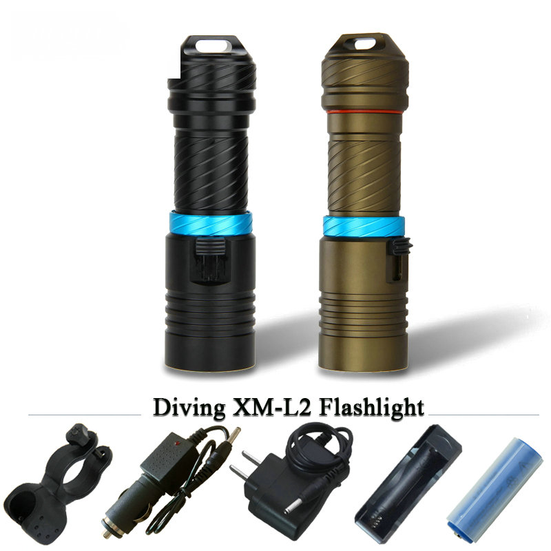 Portable 5000LM CREE XM-L2 LED Waterproof Torch Flashlight Light Scuba 100m Underwater Diving Flashlights 18650 or 26650 battery