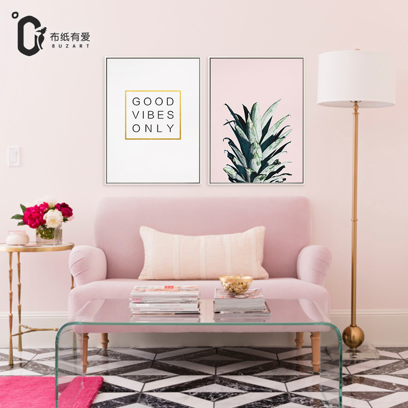 Golden Pineapple Nordic Wall Art Modern Minimalist Poster Canvas Paintings for Living Room Creative Letter Kitchen No frame in Painting Calligraphy from Home Garden