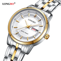2016 New brand LONGBO quartz watch lovers watches women men dress watch stainless steel clock double calendar couple hours 80146
