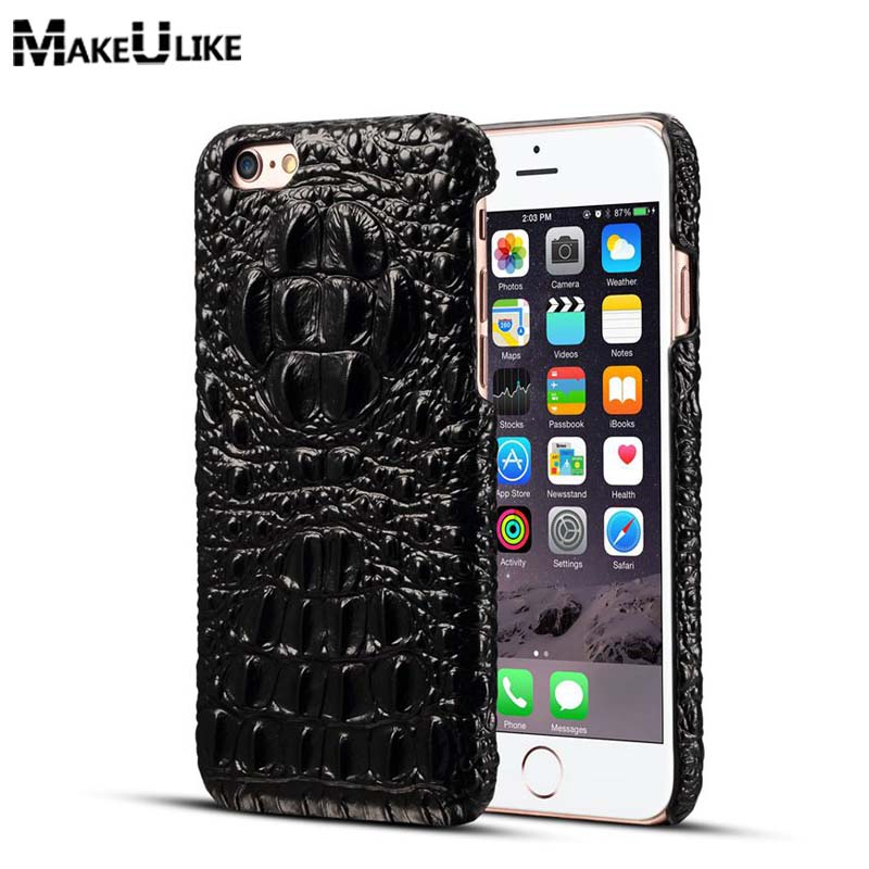 MAKEULIKE Back Case For iPhone 7 Case Cover Genuine Leather Crocodile Head Phone Bags Cases For iPhone 7 4.7 inch