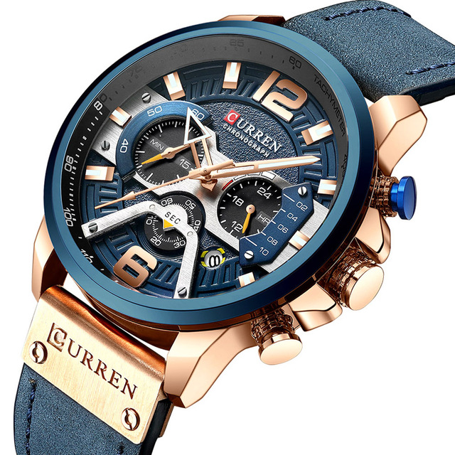 CURREN 8329 Mens שעונים למעלה מותג יוקרה הכרונוגרף גברים שעון עור יוקרה עמיד למים ספורט שעון גברים שעון גבר שעוני יד