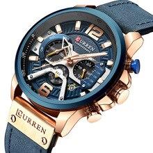 CURREN relojes para hombre, cronógrafo de lujo, de cuero, deportivo, resistente al agua, 8329