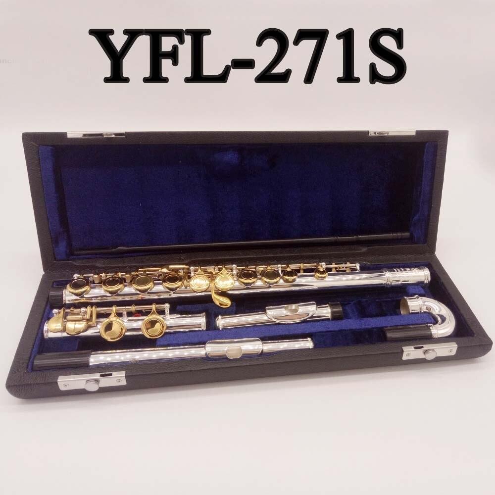 Professionnel Flûte YFL-271S Avec Standard Droite Embouchure Incurvée Embouchure 16 Trous Fermé Trou Intermédiaire Standard Flûte