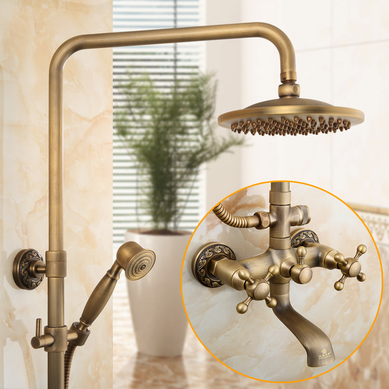 Luxury Bathroom Shower System with Hand Shower Overhead Antique Brass Bathtub Shower Cold Hot Water Thermostatic
