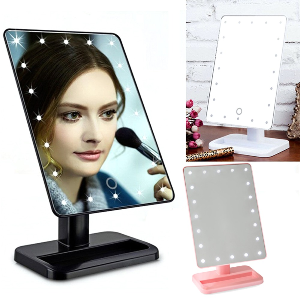 New LED light Mirror 20LED Desktop Makeup Mirror Square Beauty Cosmetic Mirror With Exquisite And Elegant Appearance