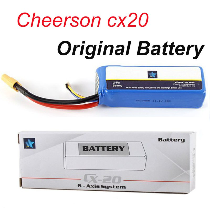 Original Cheerson CX20 CX-20 Battery 11.1V 2700mAh Lipo Battery Spare Parts for Cheerson CX20 CX-20 RC Quadcopter cx 20 cx20 spare parts remote controller transmitter for cheerson rc cx 20 quadcopter spares wholesale free shipping shuang he