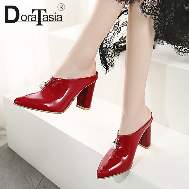 DoraTasia Brand New Plus Size 30-48 Patent Pu Leather Pearl High Heels Shoes Woman Casual Party Sexy Summer Evening Mules