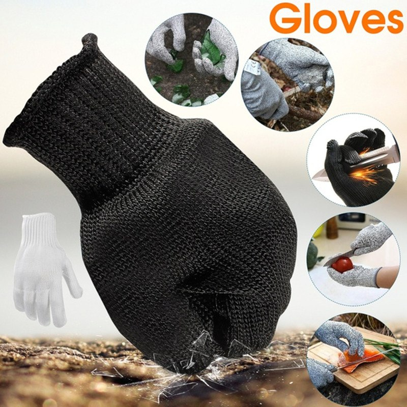 1 Pair Soft Stainless Steel Wire Cut Resistant Anti-Cutting Anti-static Gloves Safety Protective Metal Mesh Gloves 10 pair work gloves black safety protective anti static cut resistant mechanic butcher working gloves stainless steel wire