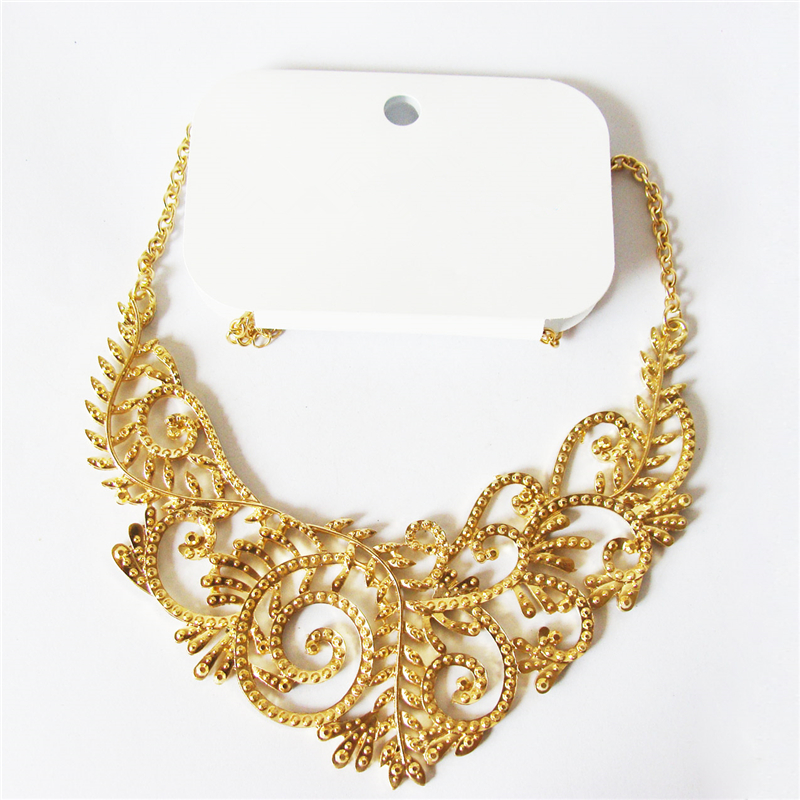 Women Special store Gold alloy hollow leaf patten short chokers necklace chain