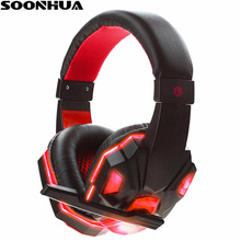 SOONHUA Pro LED Light Gamer Headset Computer Gaming Headphone Super Bass Game Headband Earphone USB 3.5mm with Mic for PC Gamer xiberia k3 over ear pc gamer game headset usb 7 1 virtual surround sound stereo bass pro gaming headphone with mic vibration led