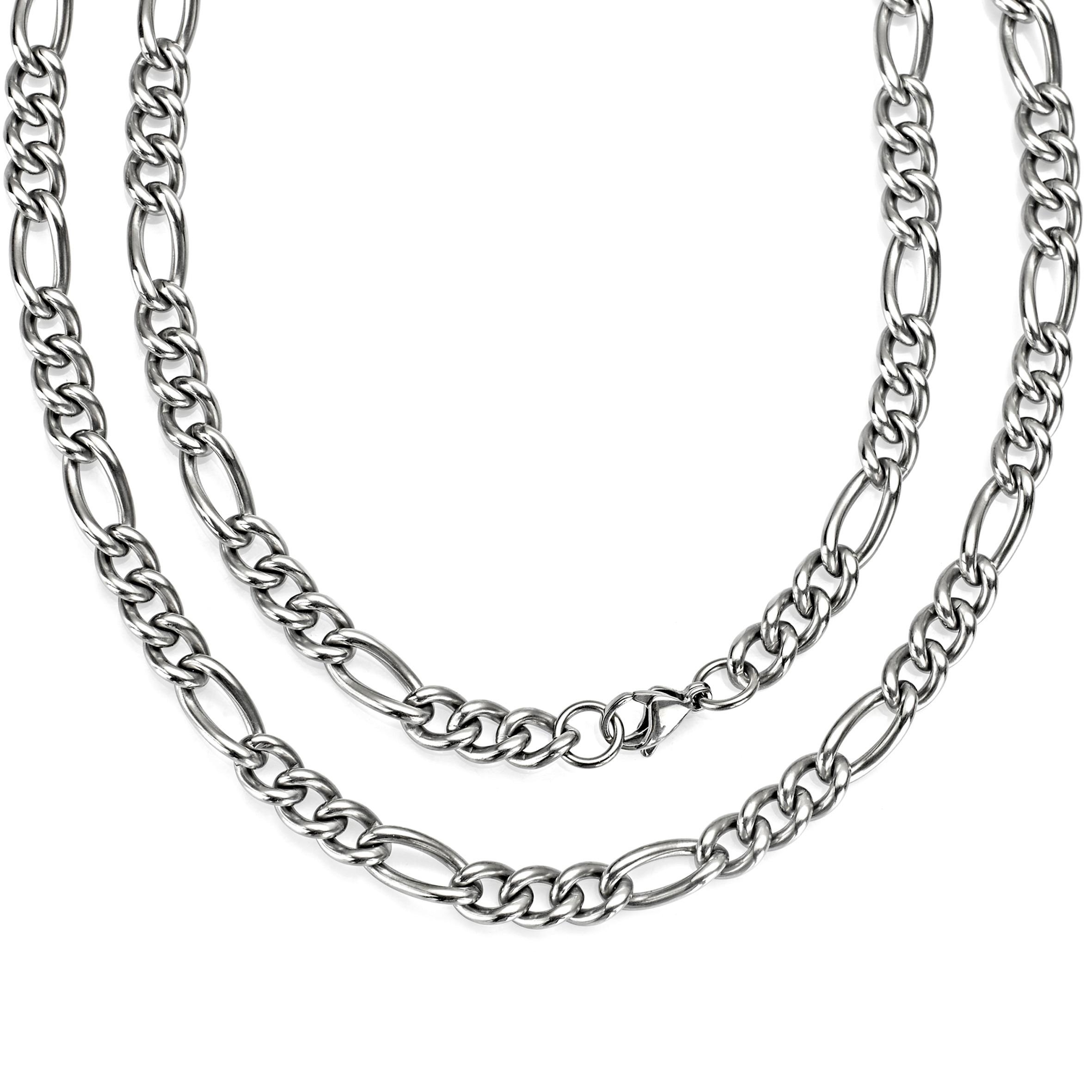 7mm Classic Men Women Curb Necklace Pure Titanium Hypoallergenic Link Chain Silver Color 22 24