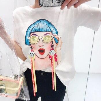 ALPHALMODA 2018 Summer 3D Cartoon Character Printed Women Loose Casual Fashion T-shirts Short-sleeved Ribbon Trendy Tee Tops