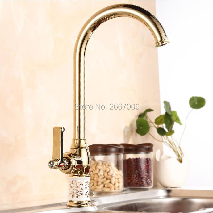 GIZERO Free shipping Luxury Gold Marble Stone Faucet Kitchen Mixer Tap Hot Cold Tap 360 Degree Swivel Sink Basin Faucet GI423 newly arrived pull out kitchen faucet gold sink mixer tap 360 degree rotation torneira cozinha mixer taps kitchen tap