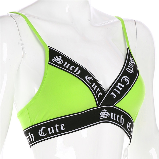 Sweetpropio neón Color Crop Top cuello en V Sexy Tank Top mujer Fitness ropa Patchwork carta cinta recortada fiesta Tops playa