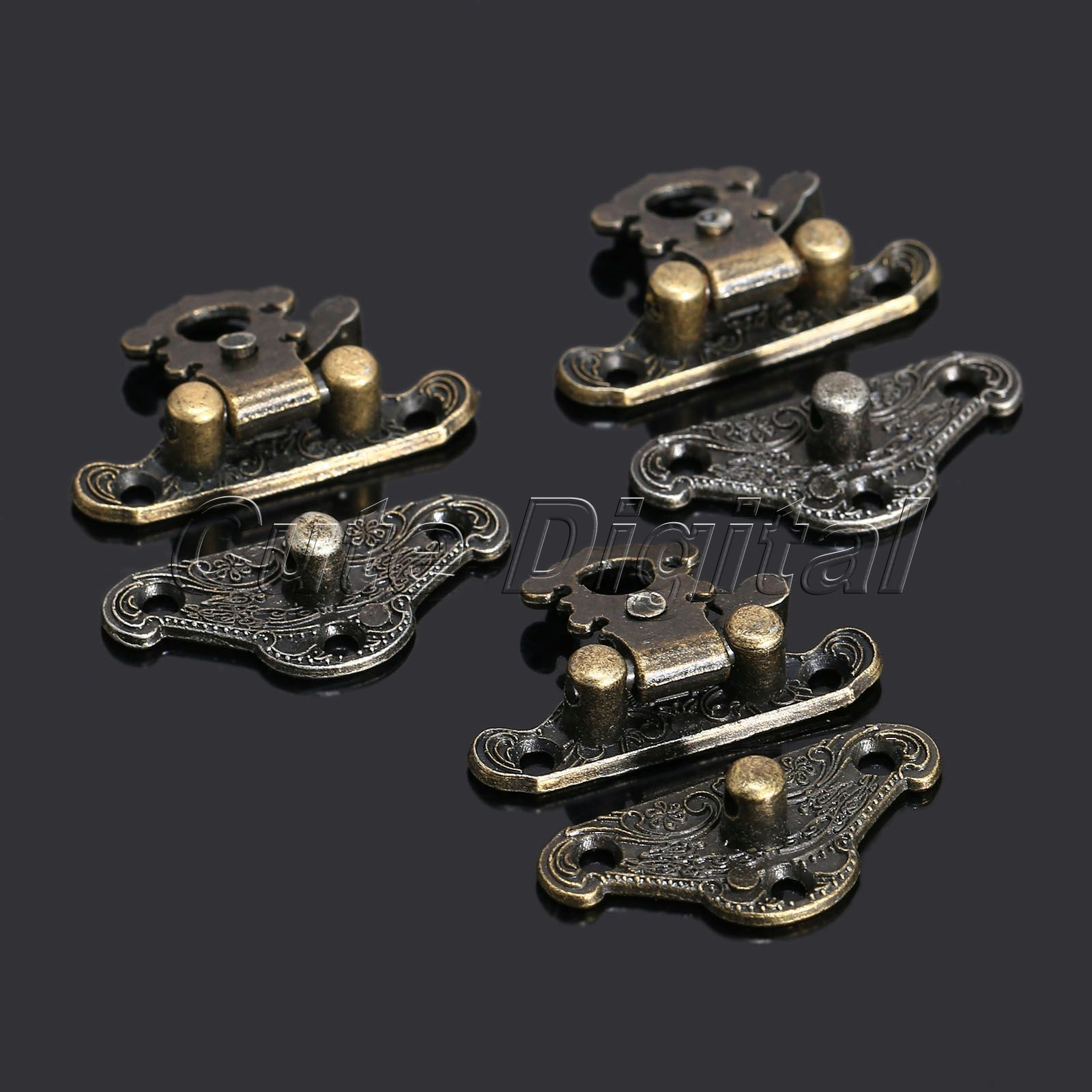 12pcs 28x23mm Antique Latches Catches Hasps Clasp Wooden Buckles Decorative Jewelry Wooden Box Latch Hook +Screw Funitures Decor