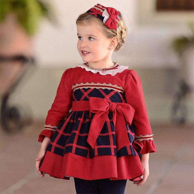 95d3983ffff1 Winter Dresses Baby Princess Costume Kids Dress For Girls Long Sleeve Red  Plaid Fille Spanish Children Clothing Vestidos Menina