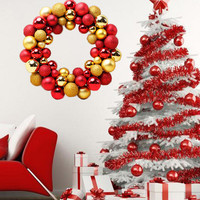 34 5 7 34 5CM Christmas 55 Balls Wreath Door Wall Ornament Garland Decoration Dropshipping Oct25