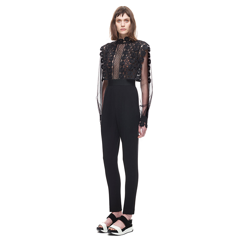 05d4fb557c91 2018 New Brand Designer Balloon Sleeve Jumpsuit Woman Mesh Patchwork  Stretch Tunic Lace Jumpsuits Women Boho Bodysuit KWA0095 5-in Jumpsuits  from Women s ...