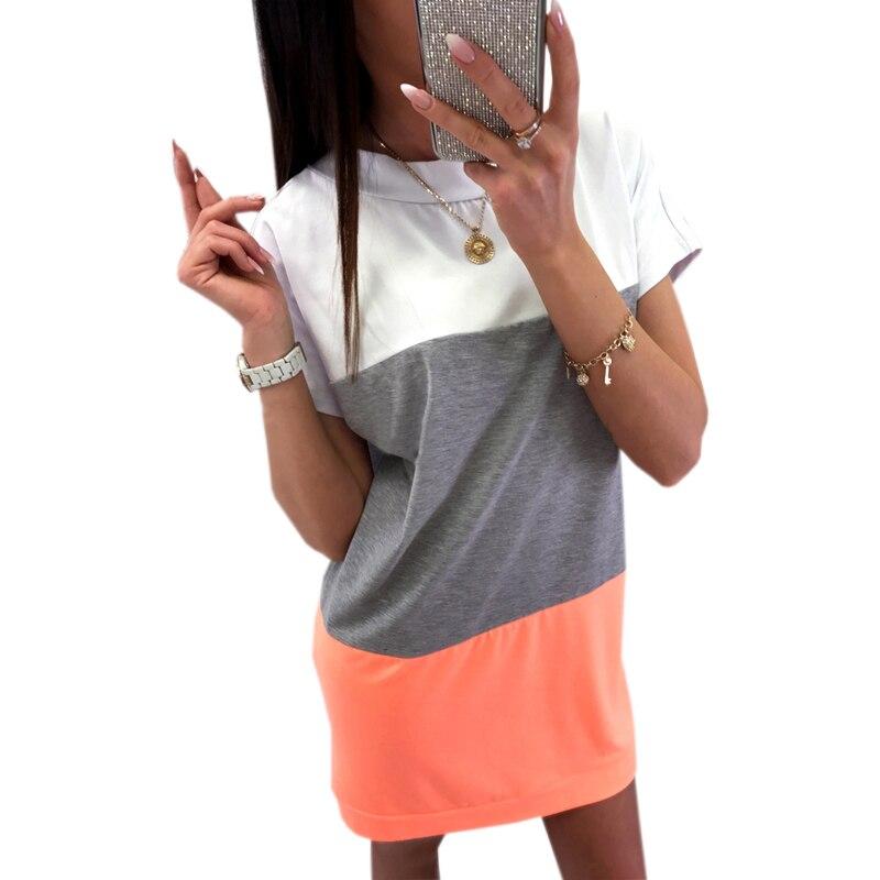 Kawaii Bandage Dress Women Plus Size Loose Patchwork Short Sleeve Mini Dress 2018 Summer Dress Femme Sexy Casual Backless GV548 1
