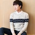 2016 Otoño Invierno Hombres Suéter de la Marca Suéter Del O-cuello Suéteres de Patrones Que Hacen Punto Caliente Masculin Blusão Masculina Suéteres Coat M-XXL 50