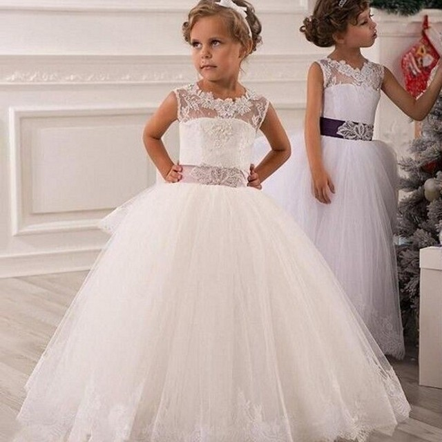 Christmas White Flower Girl Dress Lace Up Hollow Lace Appliques Ball Gown  Layered Organza Wedding Party Dress for Baby Girls ea3c50c5032f