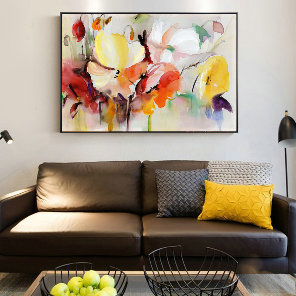 Abstract Watercolor Flower Oil Painting Print On Canvas Modern Wall Art Flower Picture For Living Room Wall Poster Cuadros Decor in Painting Calligraphy from Home Garden