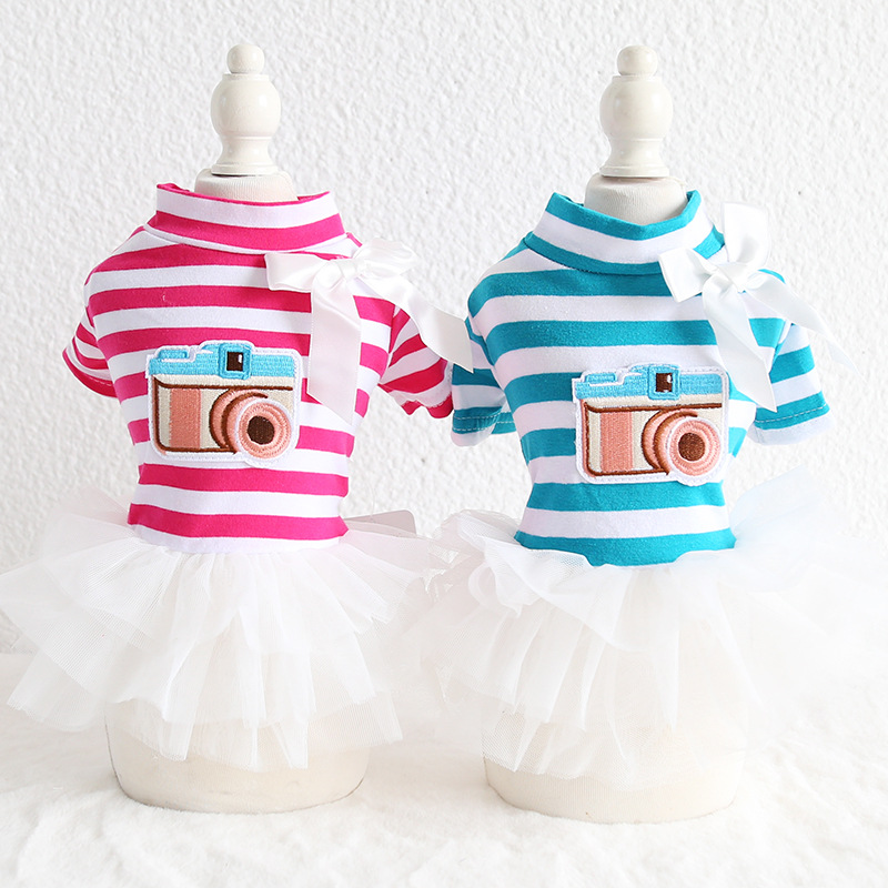 Striped Camera Bow Pet <font><b>Dog</b></font> Clothes Summer Tutu <font><b>Dress</b></font> <font><b>Dog</b></font> Coat Cat <font><b>Dress</b></font> <font><b>Dog</b></font> <font><b>Wedding</b></font> <font><b>Dress</b></font> Floral Pet <font><b>Dress</b></font> Clothing Yorkshire image