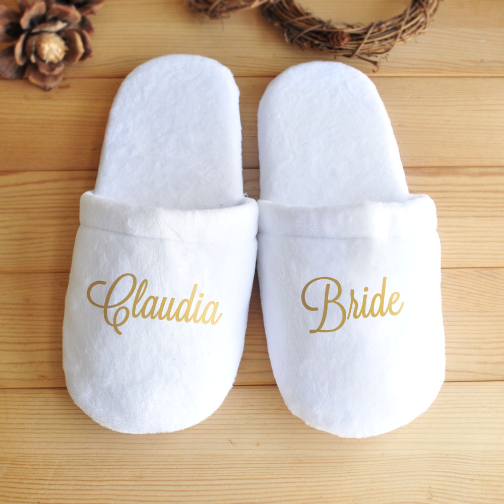65765b27048 US $11.99 |Personalised Wedding Slippers, Custom Bride Slippers, Bridesmaid  Gift, Bridal Party Slippers, Bachelorette Party Favors-in Party Favors ...