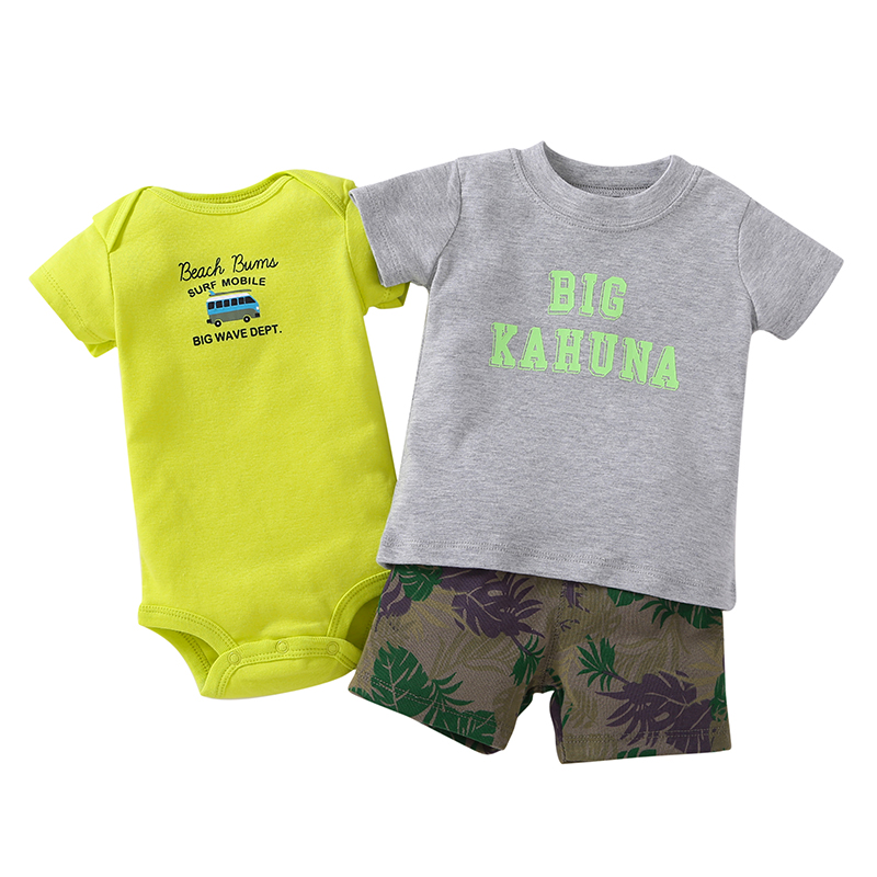 2019 Real Fashion Cotton Canvas För Bebes New Model 3-piece Bodysuit & Pant Set. Baby Boy Girl Summer Kläder, Baby Kläder