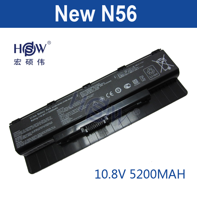 HSW 6cell laptop battery For ASUS A31-N56 A32-N56 A33-N56 N46 N76 N56 F55 N46V N56V B53V B53A F45A F45U N76V R500N N56D bateria