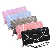 Women Clutch Pink Wallets Geometric Pocket Purse Card Holder Patchwork Long Wallet Lady Fashion Short Coin Burse