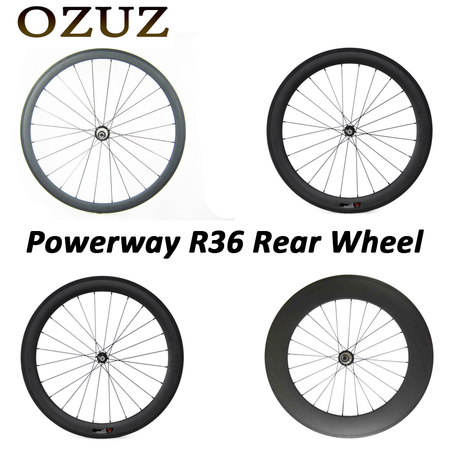 Powerway R36 OZUZ 700C 24mm 38mm 50mm 60mm 88mm Clincher Tubular Carbon Road Bike Bicycle Carbon Wheels Racing Only Rear Wheel ozuz 700c novatec 291 482 38 50mm 50 60mm 50 88mm 60 88mm carbon tubular road bike bicycle wheels carbon wheels racing wheelset