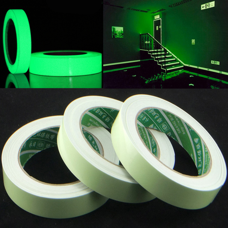 Luminous Tape Self adhesive PET Warning Tape Glow In Dark Wall Night Sticker High Brightness Fluorescent Emergency Sticker in Wall Stickers from Home Garden