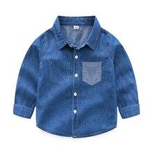 Синие рубашки для мальчиков в школу, новинка года, блузки с длинными рукавами и круглым вырезом для девочек Однотонные топы для детей-подростков, одежда для детей, Bs087