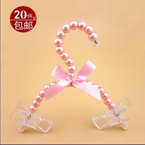 5pcs/lot 20cm New Style Baby Pearl Hanger Children Plastic Hangers For Clothes Kids Pet Dog Hanger Clothes Rack