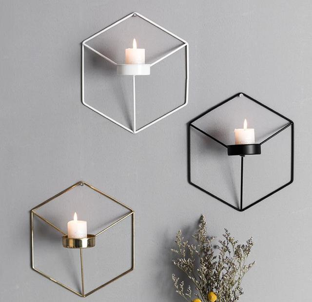 2pcs Touch Nordic Style Geometric Candlestick Metal Wall Candle Holder Sconce Matching Small Tealight Home Ornaments