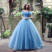 Verngo Blue Tulle Prom Dresses Long Ball Gown Dress Prom Princess Cinderella Cosplay Dress Vestidos De Gala