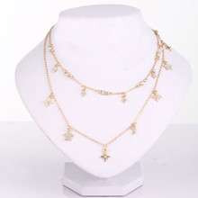 1PC Womens fashion new five-pointed star double necklace Star and moon combination For Women Jewelry Dropshipping
