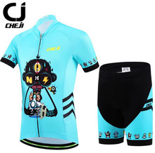 CHEJI Short Sleeve Children Bike Jersey Sets Summer Kids Cycling Clothing Breathable Pro Bicycle Clothes Boys