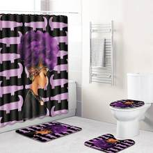 4PCS Shower Curtain Toilet Seat Cover WC Seat Cover Bath Mat Closestool Lid Cover Africa Christmas Decor Bathroom Set 5pz(China)