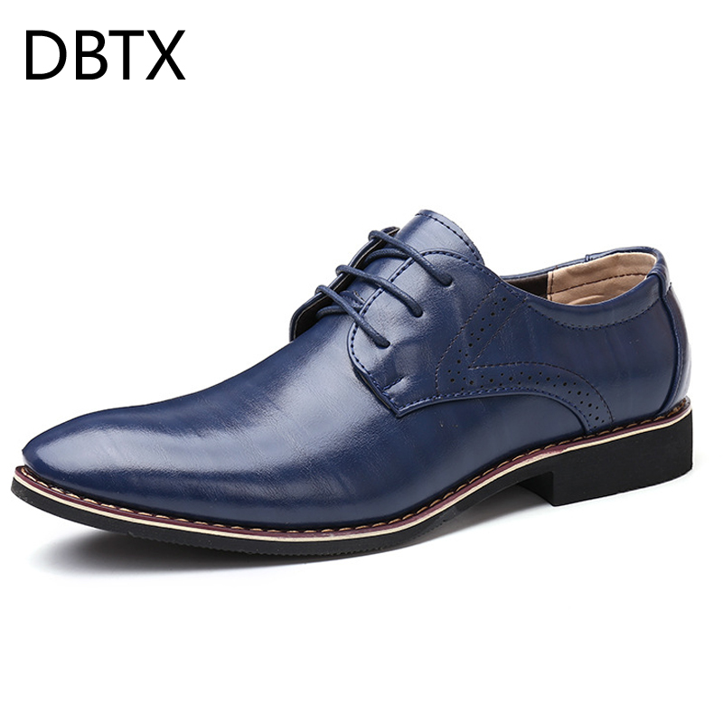 Men Oxfords Leather Shoes British Black Blue Shoes handmade comfortable formal dress men flats Lace-Up Bullock image