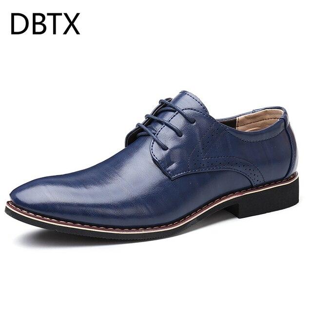 Men Oxfords Leather Shoes British Black Blue Shoes handmade comfortable formal dress men flats Lace Up Bullock