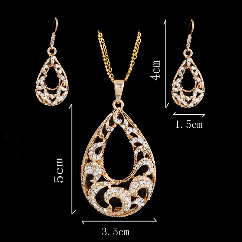 Fashion waterdrop design pendant jewelry set golden plated chain necklace earring women 39 s luxury Design and style fashion jewelry