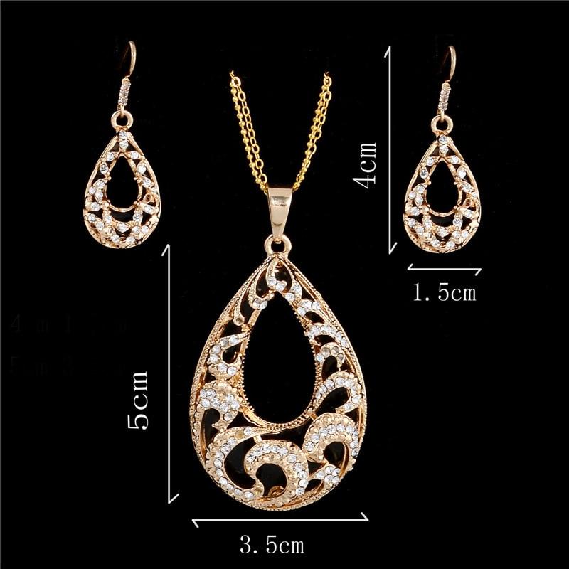 Fashion Waterdrop Design Pendant Jewelry Set Golden Plated