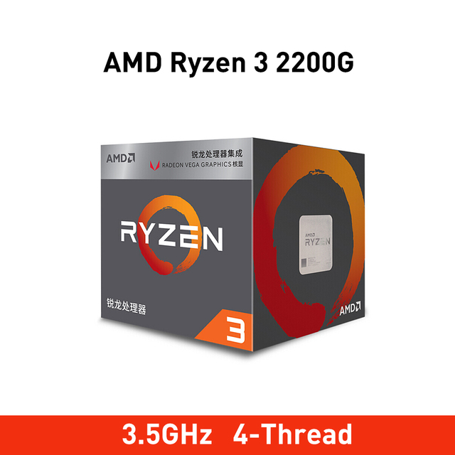 New amd ryzen 3 2200g cpu 3.5GHz 4 Core 4 Threads Socket AM4 Original processador with Radeon Vega 8 Graphics TDP 65W 14nm