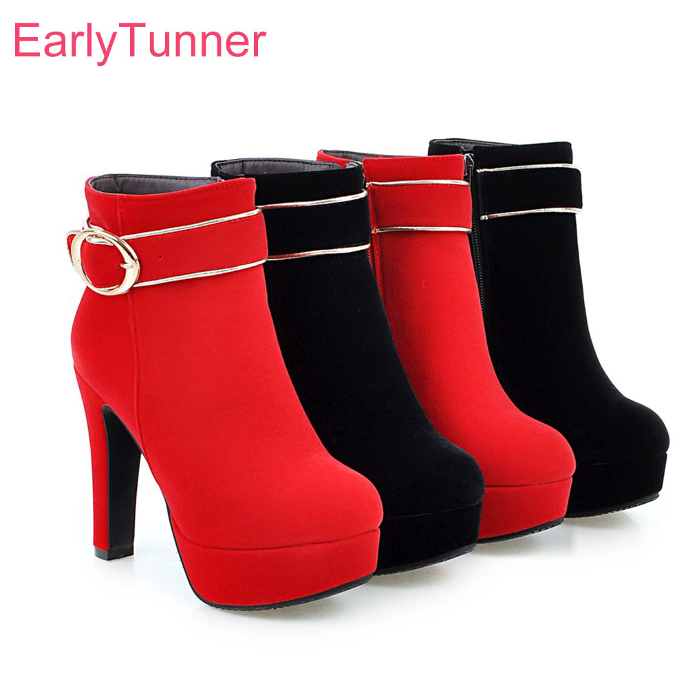 Brand New Sale 4 type Sexy Black Red Women Platform Ankle Fur Boots Vogue Lady Nude Dress Shoes High Heel EH9S Plus Big size 43 brand new sexy women motorcycle boots black red beige white lady ankle riding shoes fashion nude heels ay902 plus big size 43 48