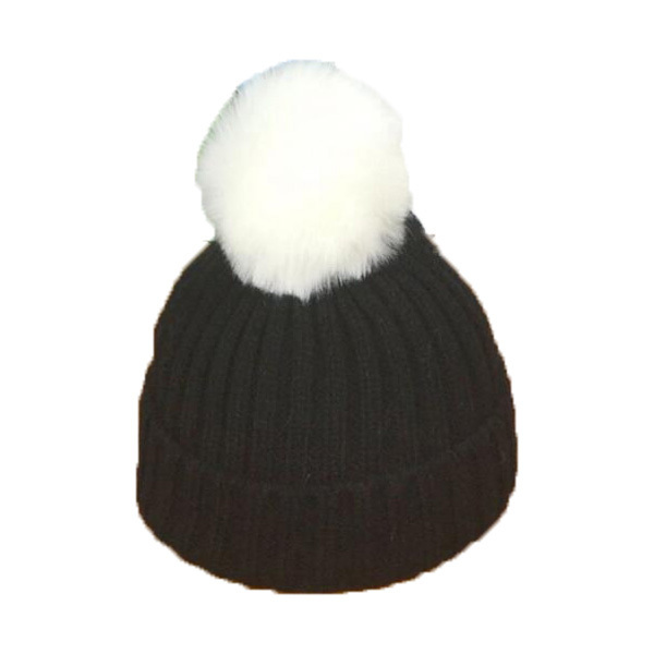 Children Unisex Solid Color Ribbed Knitted Beanies Faux Fur Pom Pom Hats  New Kids Winter Warm Fold Caps Skullcap MZ4209 c29f05665fe