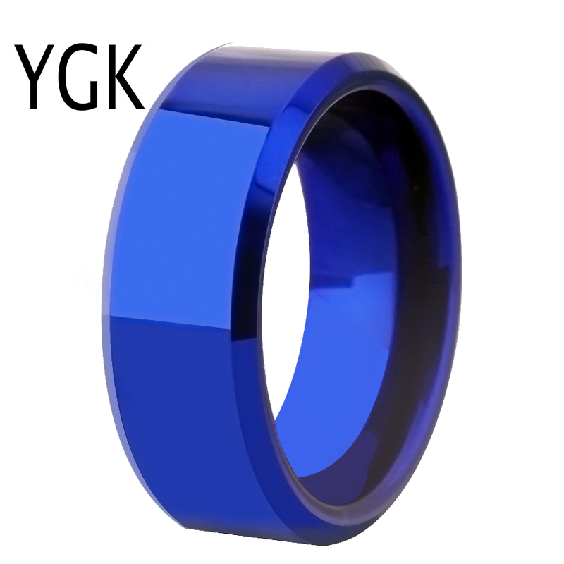 Drop Shipping Womens Wedding Band Ring Men Classic Blue Bevel Tungsten Ring Engagement Party Ring Gift Present for Women menWedding Bands   -