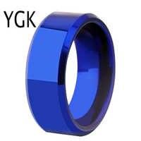 Livraison directe femmes bague de mariage hommes classique bleu biseau tungstène anneau de fiançailles fête anneau cadeau présent pour les femmes hommes
