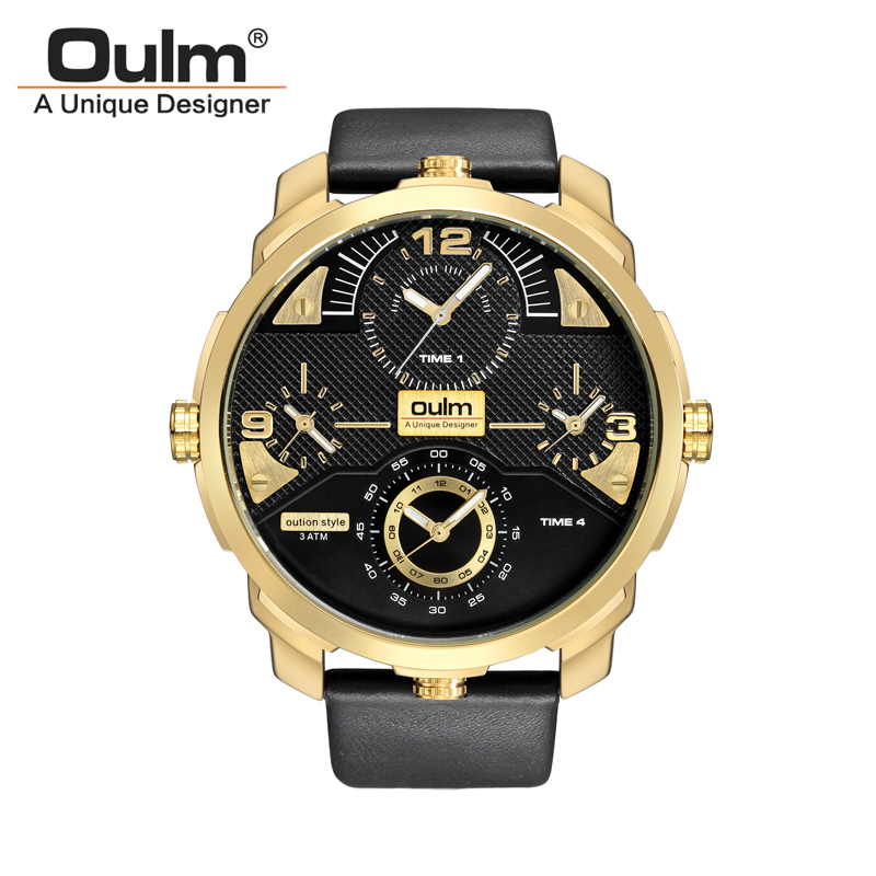 Oulm Brand Luxury Men Leather Band Japanese Movement Quartz Watch 4 Time Zones Military Waterproof Big Dial Male Wristwatch luxury big dial brand women watch vilam austria rhinestones miyota movement leather band quartz watch ladies clocks